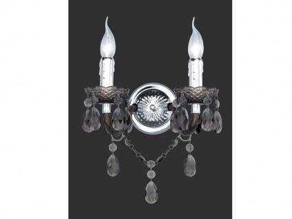 Nostalgische LED Wandleuchte 2flammig Silber mit Acryl Kristallbehang in schwarz