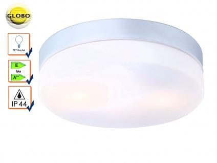 Globo Badezimmmer Deckenleuchte VRANOS silber weiß Ø24cm, Lampe Bad Feuchtraum