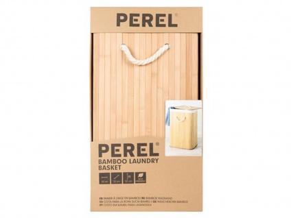 Bambus Holz Wäschekorb faltbar mit Wäschesack, eckig, Wäschebehälter Wäschebox - Vorschau 3