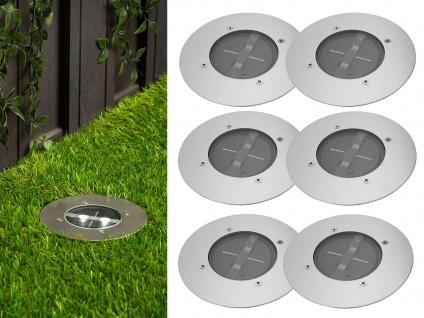 6er Set Solar Einbaustrahler Außen rund mit Tag/Nacht Sensor Bodeneinbauleuchten