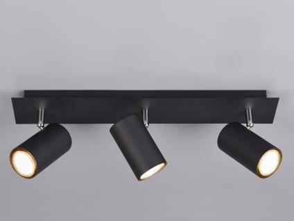 Moderne Bürolampe mit 3 schwenkbaren LED Deckenspots, Wohnraumlampe schwarz matt