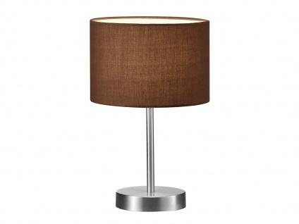 TRIO Design Nachttischleuchte Lampenschirm Stoff rund braun Ø20cm E14 -Flurlampe