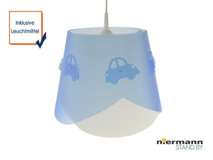 Kinderzimmer LED Deckenleuchte dimmbar Lampenschirm mit AUTOS 2 Lagen Lichtspiel