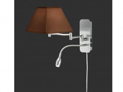 Wandleuchte Stoffschirm eckig braun mit Leselampe & Stecker Wandlampen fürs Bett