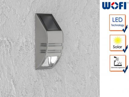 LED Außenwandleuchte mit Solar Edelstahl 6000K, Fassadenbeleuchtung Downlight