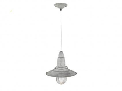 LED Hängelampe grau antik Lampenschirm Glas 32cm, Retro Pendelleuchte Vintage - Vorschau 2