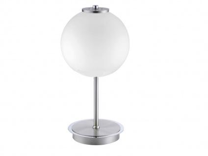 LED Tischleuchte mit Kugellampenschirm aus Opalglas, Nachttischleuchte Flurlampe