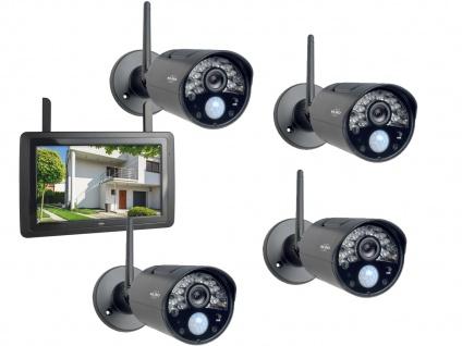 IP Überwachungskamera Komplettset, 4 Kameras mit Monitor, Handy Überwachungs App