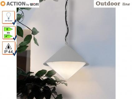 Markante Außenleuchte / Gartenlampe als Hängelampe grau, Outdoor, E27 Fassung