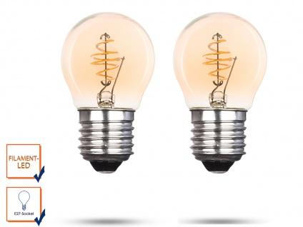 2x LED Leuchtmittel Globe 3 Watt 150 Lumen 2000 Kelvin E27-Sockel Filament LED