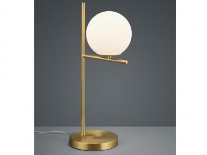 Design LED Nachttischlampe Messing Lampenschirm Glaskugel weiß fürs Schlafzimmer