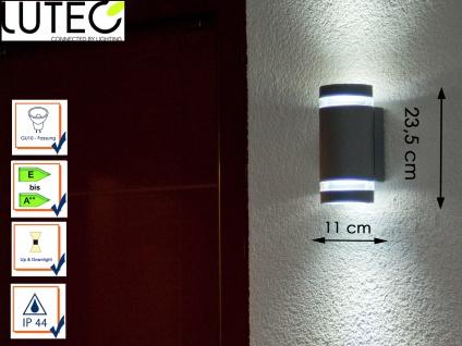 Außenwandleuchte Aluguss silber IP44 H. 23, 5cm Fassadenbeleuchtung Wandleuchte