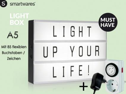Light-Box / Leuchtkasten A5 mit 85 Buchstaben + Netzadapter & Zeitschaltuhr