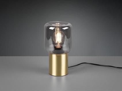 LED Tischleuchte Zylinderform Messing Rauchglas Lampenschirm schmale Tischlampe