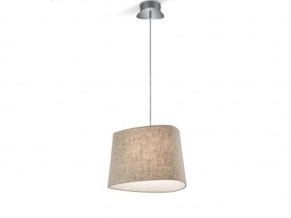 Hängelampe CROSBY mit dimmbare LED, Küchenleuchte mit Lampenschirm Stoff, braun