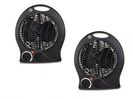 2er Set Elektroheizung 3 Stufen Thermostat Überhitzungsschutz Camping 2000 W