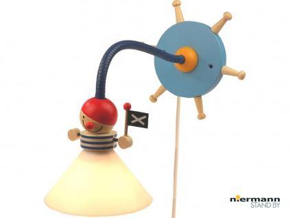 Kinder Wand-Leseleuchte PIRAT biegsam Flexrohr Schnurschalter Baby Wandlampe