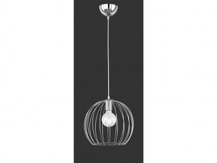 Runde LED Pendelleuchte Chrom mit Gitterschirm Lampe dimmbar für Esszimmertisch