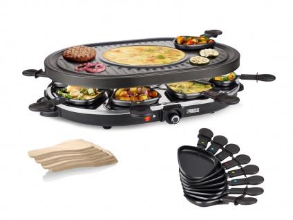 Raclette Gerät für 8 Personen mit Crêpefläche Elektro Tischgrill Raclet Raklett