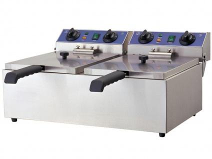 Gastro Doppel Fritteuse 2x 6 L, Edelstahl Profi Kaltzonen Fritteuse Friteuse - Vorschau 2