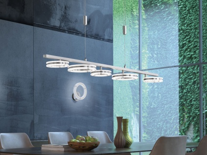 5 flammige LED Pendelleuchte Ringe höhenverstellbar & dimmbar mit Farbwechsel
