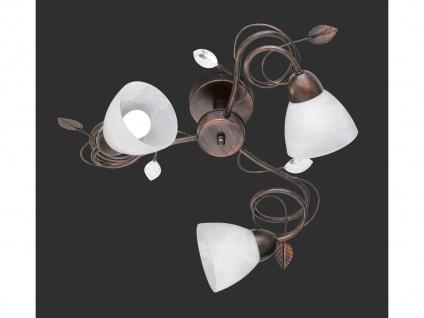 Dimmbare Antik Look Deckenlampe mit 3 LEDs & Blätterdesign aus Metall rostfarbig - Vorschau 2