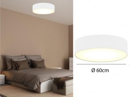 Deckenleuchte mit Stoff Lampenschirm Weiß 60cm - Textil Deckenlampe Stoffschirm