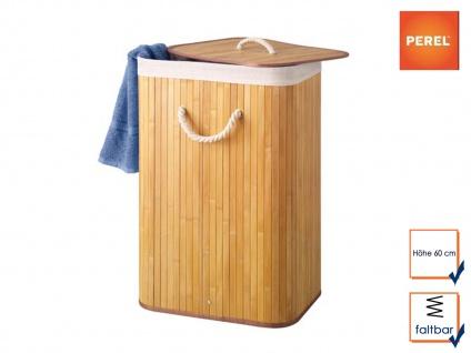 Bambus Holz Wäschekorb faltbar mit Wäschesack, eckig, Wäschebehälter Wäschebox