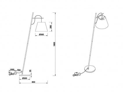 Coole Stehleuchte 180cm mit Stoff Lampenschirm höhenverstellbar in schwarz/gold - Vorschau 5