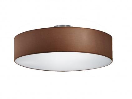 Runde LED Deckenleuchte Textil Lampenschirm Braun Ø50cm Stoffschirm Deckenlampe