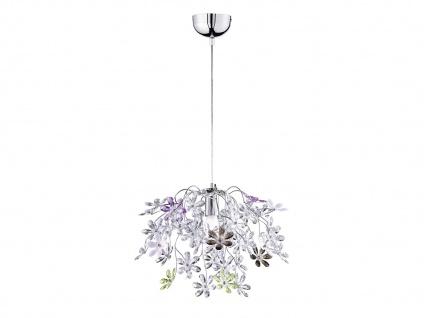 Florale Hängelampe Chrom Acrylglas Ø50cm mit bunten Blüten, Wohnzimmerlampe