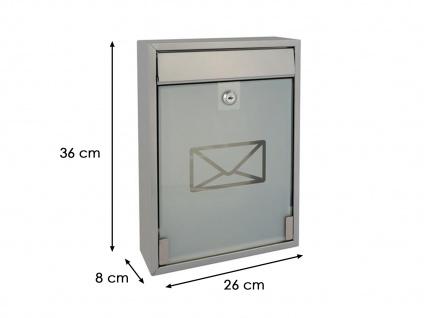 Briefkasten Silber satinierte Tür 2 Schlüssel Design Wandbriefkasten 26x36x8 cm - Vorschau 5