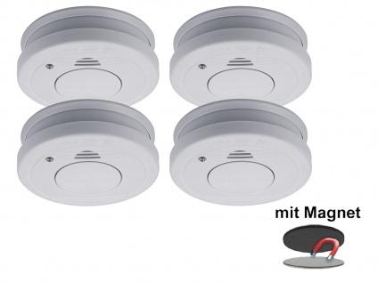 4er-Set Rauchmelder mit Magnethalter, Batteriewarnung & Testtaste, EN14604