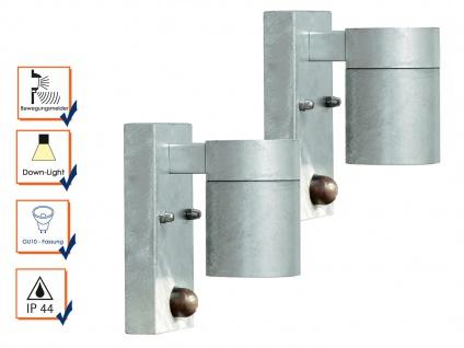 2er-SetWandleuchte MODENA, Bewegungsmelder, galv. Stahl, GU10, IP44 - Vorschau 4