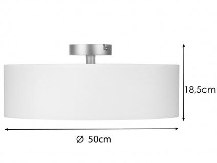 Deckenleuchte mit Stoff Lampenschirm Weiß 50cm - Textil Deckenlampe Stoffschirm - Vorschau 2