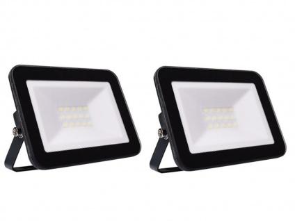 2er Set 20W LED Außenwandstrahler schwarz mit Befestigungsbügel, flaches Design