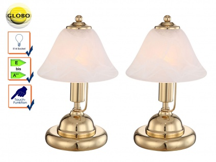 2x Globo Tischleuchte ANTIQUE Messing Touchfunktion, Glasschirm, Nachttischlampe