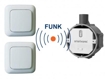 Funk Schalter Set = Funk-Einbauschalter + 2 x Funk-Wandschalter Fernbedienung