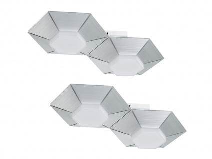 Dimmbare 2 flammige LED Wandlampe Aluminium gebürstet - 2er Set fürs Wohnzimmer