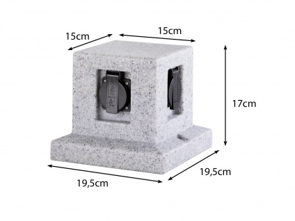 Außensteckdose Steinoptik 4 fach Gartensteckdosen Terrassensteckdose für draußen - Vorschau 3