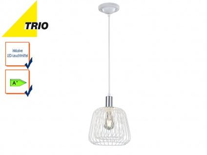 Vintage Pendelleuchte Weiß Chrom mit E27 LED, Design Hängelampe Pendel Retro