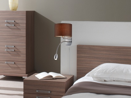 Wandleuchte mit Stoffschirm braun und LED Leselampe fürs Bett - Stecker Kabel - Vorschau 5