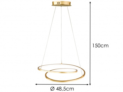 Höhenverstellbare LED Pendelleuchte Gold dimmbar 23W Ø 48, 5cm - Esstischlampen - Vorschau 5