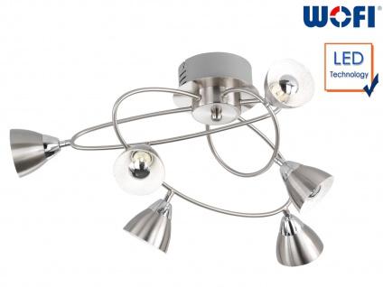 LED Deckenstrahler Nickle matt 6 Spots Deckenleuchte Wohnzimmerleuchte Bürolampe