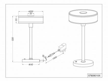 2 er SET LED Tischlampen mit Sensor Dimmer runder Stoffschirm mit Acryl in Weiß - Vorschau 5