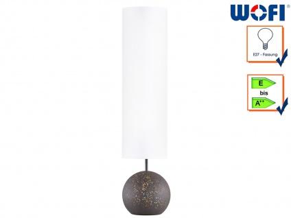 Retro Stehleuchte Antik braun Schirm weiß Höhe 124cm 4-fl., Lampe Wohnraum Deko