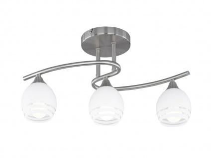 Deckenleuchte, E14, 50x20cm, H. 27cm, Nickel matt, Glas weiss Dekor