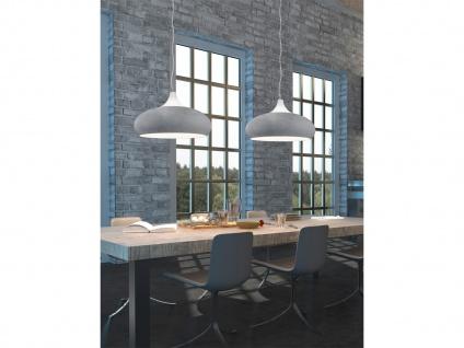 Design LED Hängelampe in BETONFARBEN + weiß aus Metall Pendelleuchte Esszimmer - Vorschau 5