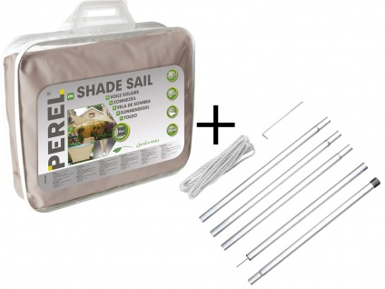Sonnensegel Quadratisch Braun 3, 6m mit Stangenset für Garten Sonnenschutzsegel