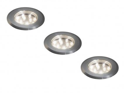Erweiterungsset 3 Mini LED Bodenspots Edelstahl Ø7cm für Garten & Terrasse IP44